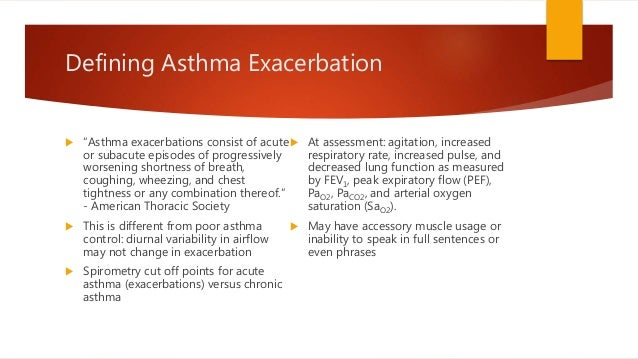 acute exacerbation of asthma case Differential diagnosis of asthma - this case study in environmental triggers of asthma non-allergic wheezing in children occurs during acute.