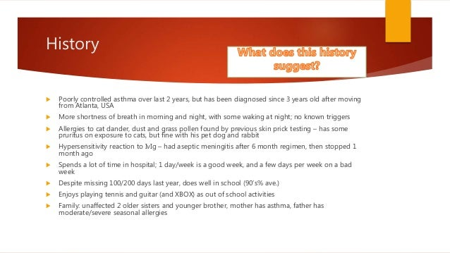 asthma case study pediatric Full-text paper (pdf): pediatric asthma and manual therapy- a case report frightful event, which they feel may have been a cause to happen for their child's asthma case presentation history a ten-year-old indian boy presented on july 5, 2015 for assessment his mother told that his principal.