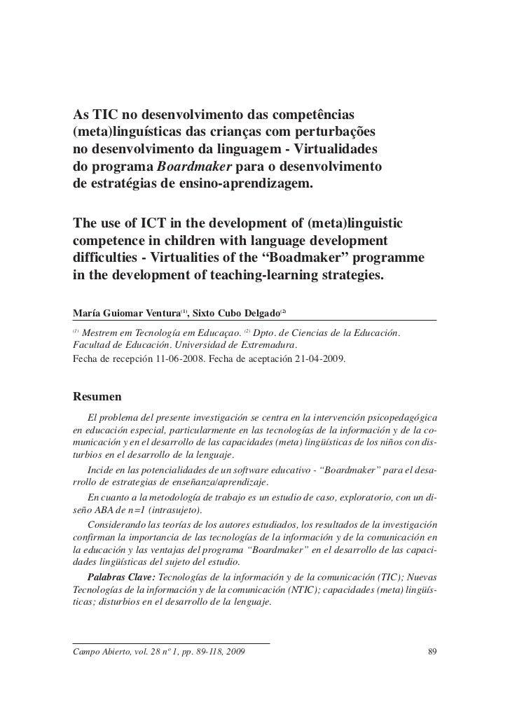 As TIC no desenvolvimento das competências(meta)linguísticas das crianças com perturbaçõesno desenvolvimento da linguagem ...