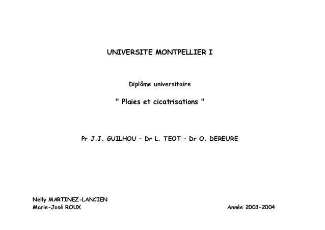 "UNIVERSITE MONTPELLIER I                             Diplôme universitaire                         "" Plaies et cicatrisati..."