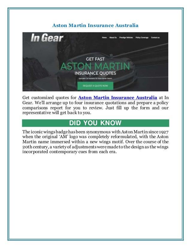 Aston Martin Insurance Australia
