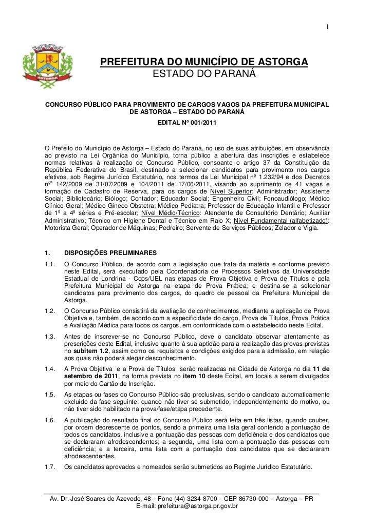 1                   PREFEITURA DO MUNICÍPIO DE ASTORGA                           ESTADO DO PARANÁCONCURSO PÚBLICO PARA PRO...