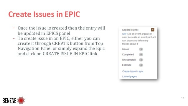 Create Issues in EPIC - Once the issue is created then the entry will be updated in EPICS panel - To create issue in an EP...