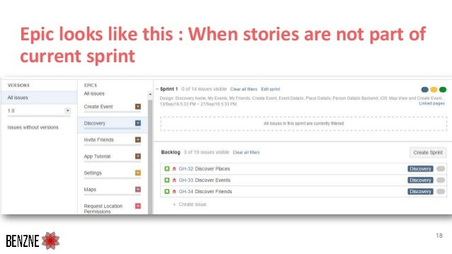 Epic looks like this : When stories are not part of current sprint 18