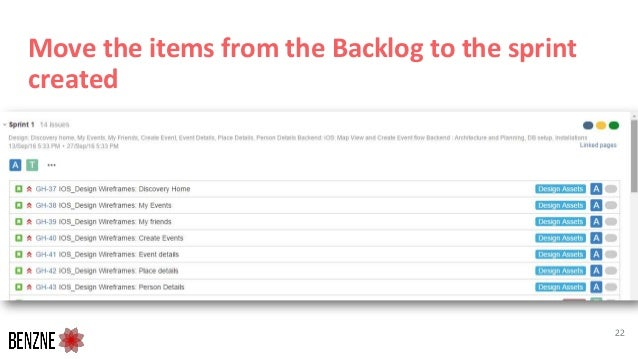 Move the items from the Backlog to the sprint created 22