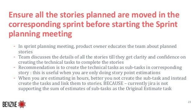 Ensure all the stories planned are moved in the corresponding sprint before starting the Sprint planning meeting - In spri...