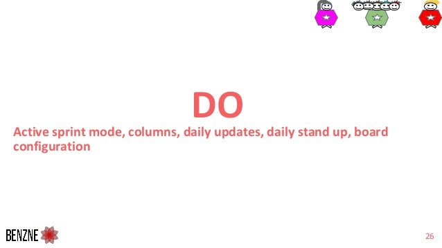 DOActive sprint mode, columns, daily updates, daily stand up, board configuration 26