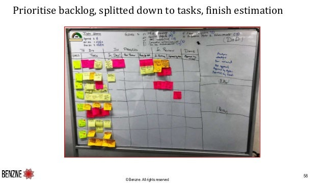 © Benzne. All rights reserved Prioritise backlog, splitted down to tasks, finish estimation 58
