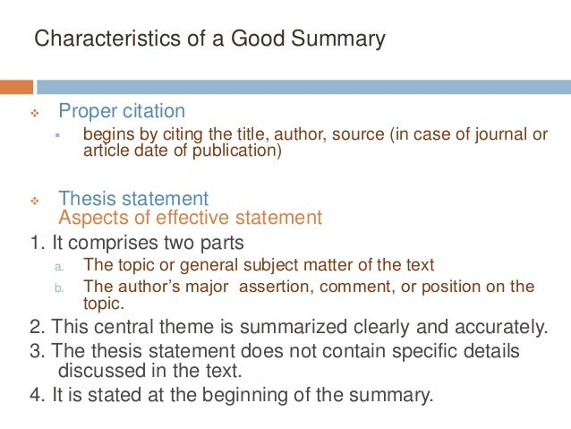 how many characteristics does an effective thesis statement have