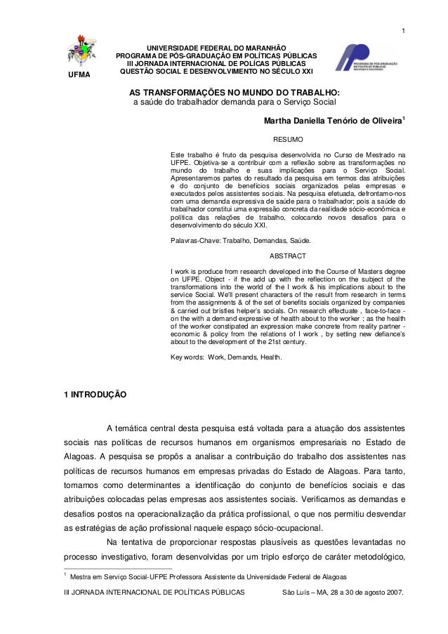 1  UFMA  UNIVERSIDADE FEDERAL DO MARANHÃO PROGRAMA DE PÓS-GRADUAÇÃO EM POLÍTICAS PÚBLICAS III JORNADA INTERNACIONAL DE POL...
