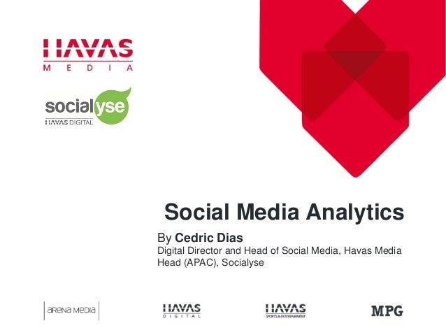 Social Media Analytics By Cedric Dias Digital Director and Head of Social Media, Havas Media Head (APAC), Socialyse