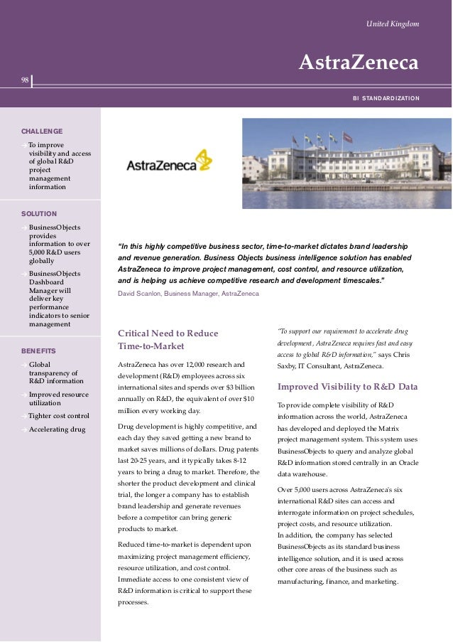 """98 AstraZeneca """"In this highly competitive business sector, time-to-market dictates brand leadership and revenue generatio..."""