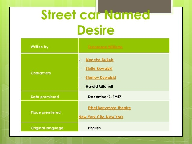 the street car named desire A streetcar named desire by tennessee williams directed by sidonie garrett september 7 - 25, 2016 city stage at union station featuring cinnamon schultz.