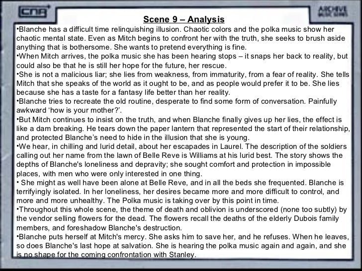 an analysis of streetcar named desire Take a look over scene 4 analysis, and the other scenes, (one, two, three) one thought on tennessee williams' a streetcar named desire - scene 5 add yours pingback: tennessee williams' a streetcar named desire - scene 6.
