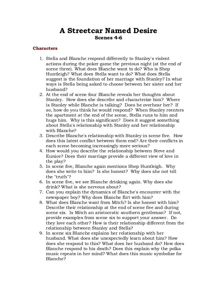 a streetcar named desire scene 9 essay Essay on a streetcar named desire- scene 10it is a couple hours after mitch left the apartment and blanche has been.