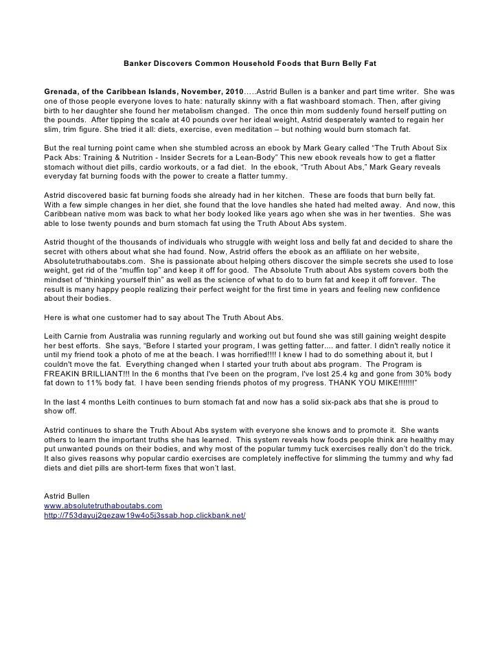 Banker Discovers Common Household Foods that Burn Belly FatGrenada, of the Caribbean Islands, November, 2010…..Astrid Bull...