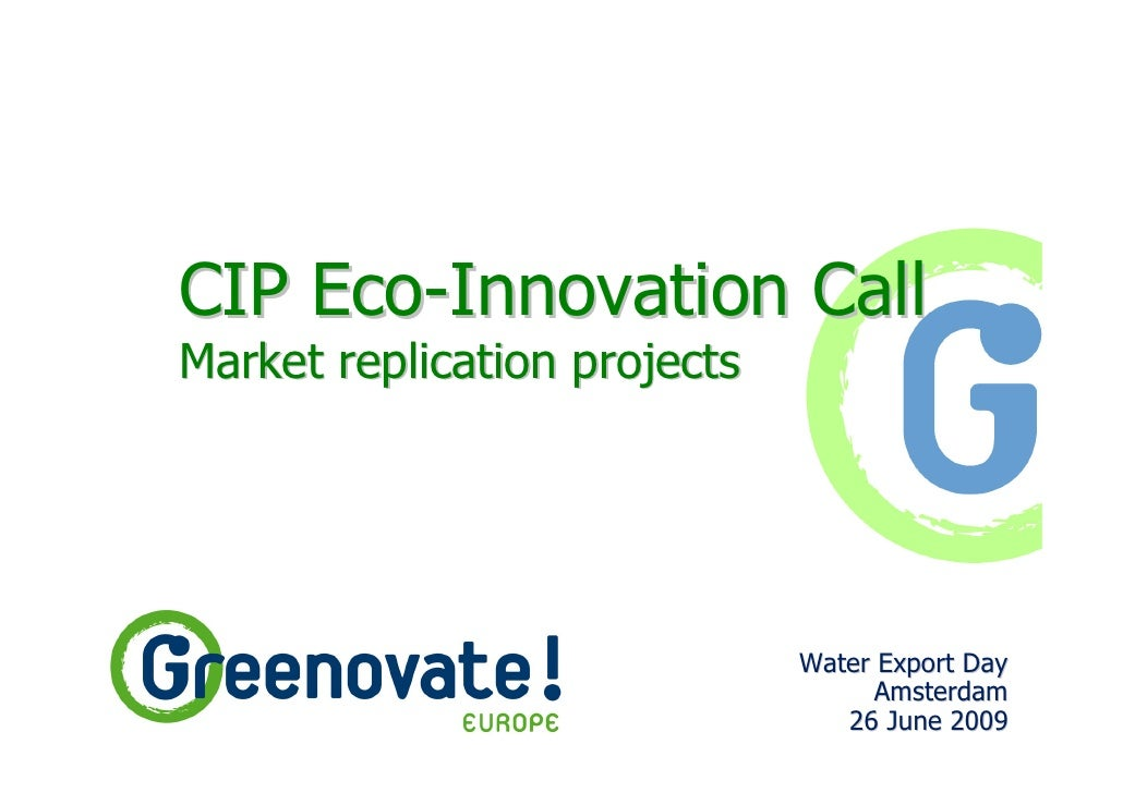 CIP Eco-Innovation Call Market replication projects                                   Water Export Day                    ...