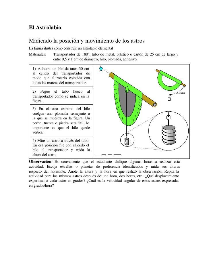 El Astrolabio  Midiendo la posición y movimiento de los astros La figura ilustra cómo construir un astrolabio elemental Ma...