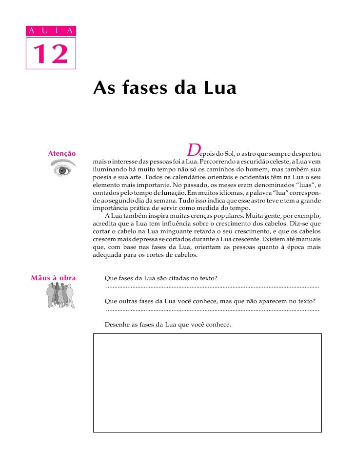 A UA U L A     L A    1212              As fases da Lua    Atenção                                                        ...