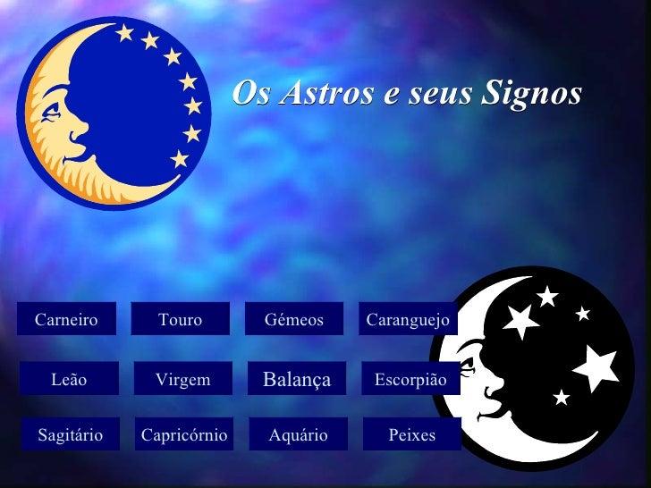 Os Astros e seus Signos Carneiro Touro Gémeos Caranguejo Leão Virgem Balança Escorpião Sagitário Capricórnio Aquário Peixes