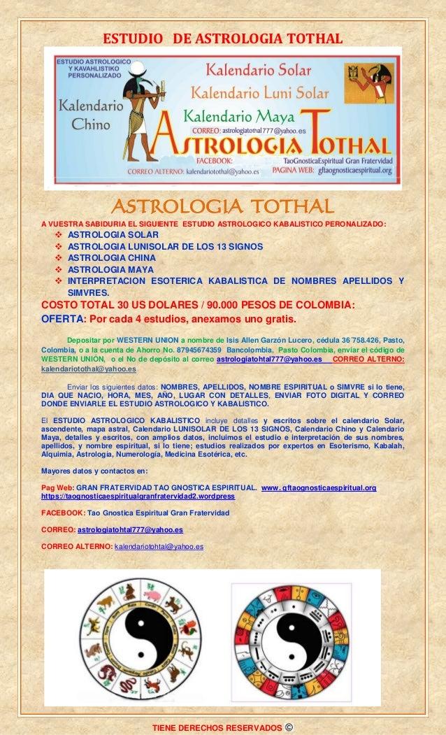ESTUDIO DE ASTROLOGIA TOTHAL TIENE DERECHOS RESERVADOS ASTROLOGIA TOTHAL A VUESTRA SABIDURIA EL SIGUIENTE ESTUDIO ASTROLOG...