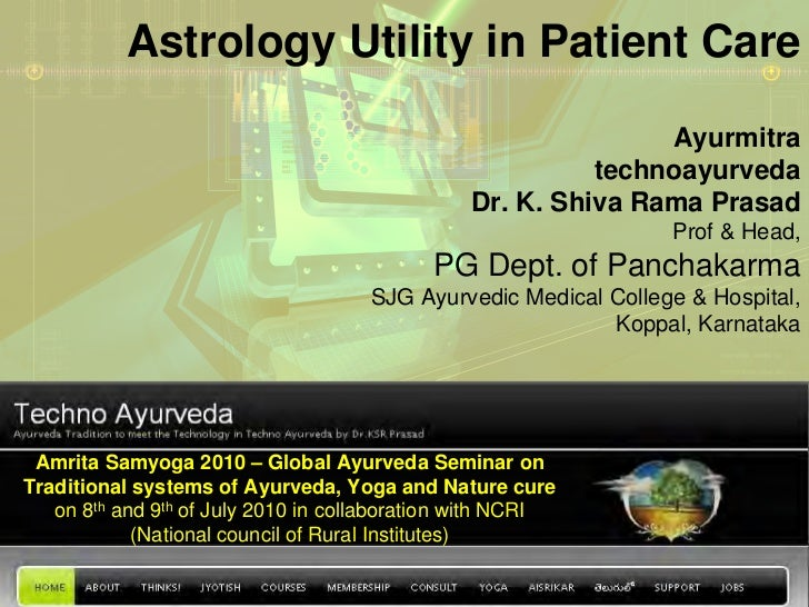 Astrology Utility in Patient Care                                                              Ayurmitra                  ...