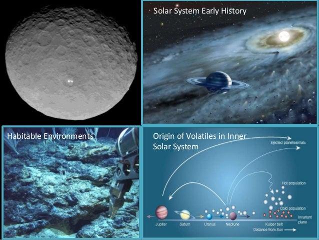 Solar System Early History Origin of Volatiles in Inner Solar System Habitable Environments