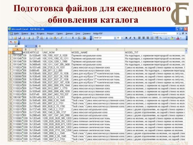 Подготовка файлов для ежедневного обновления каталога