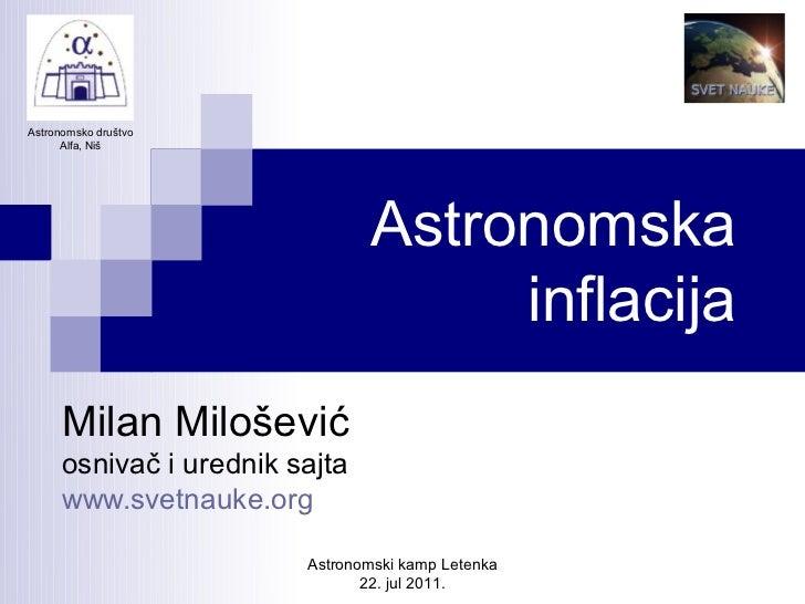 Astronomsko društvo      Alfa, Niš                                Astronomska                                     inflacij...