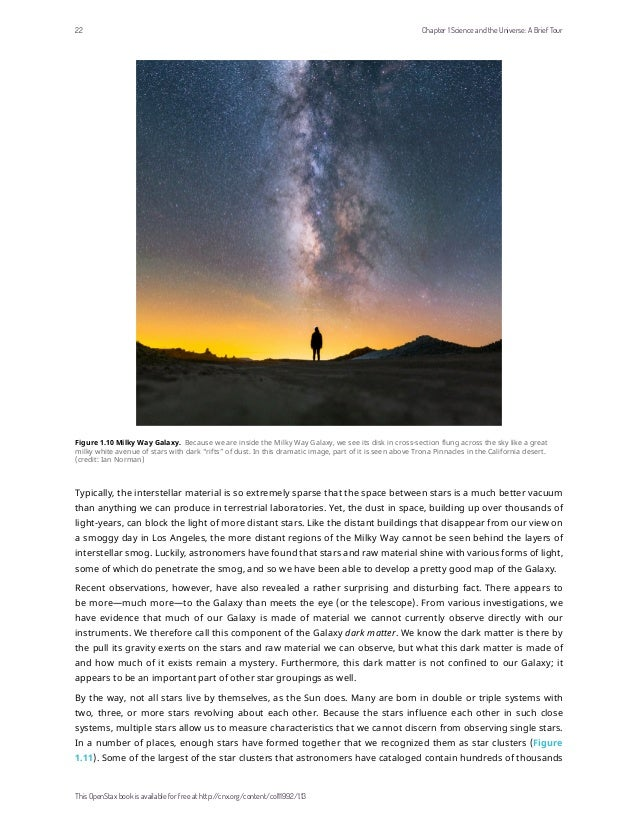 Figure 1.10 Milky Way Galaxy. Because we are inside the Milky Way Galaxy, we see its disk in cross-section flung across th...