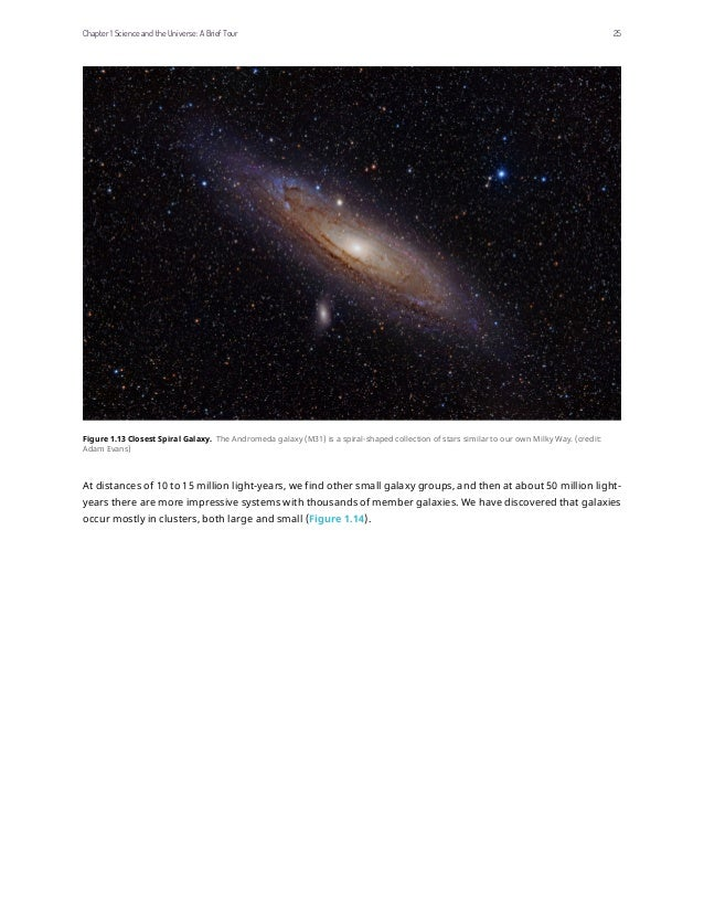 Figure 1.13 Closest Spiral Galaxy. The Andromeda galaxy (M31) is a spiral-shaped collection of stars similar to our own Mi...