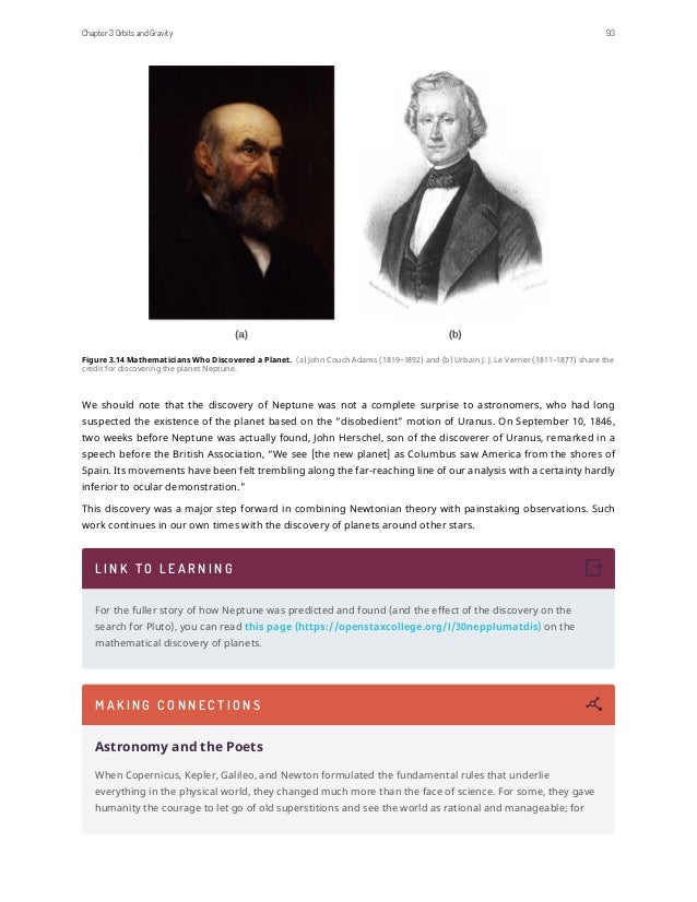 Figure 3.14 Mathematicians Who Discovered a Planet. (a) John Couch Adams (1819–1892) and (b) Urbain J. J. Le Verrier (1811...