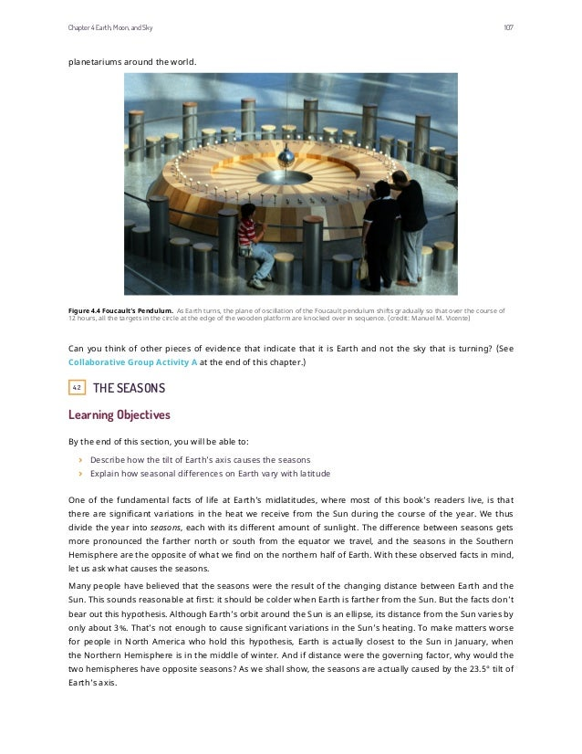 planetariums around the world. Figure 4.4 Foucault's Pendulum. As Earth turns, the plane of oscillation of the Foucault pe...