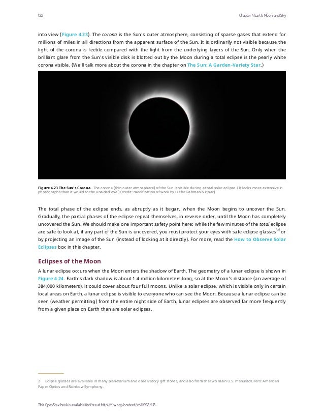 into view (Figure 4.23). The corona is the Sun's outer atmosphere, consisting of sparse gases that extend for millions of ...
