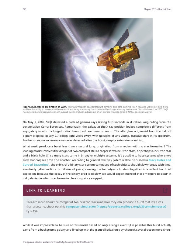 Figure 23.23 Artist's Illustration of Swift. The US/UK/Italian spacecraft Swift contains on-board gamma-ray, X-ray, and ul...