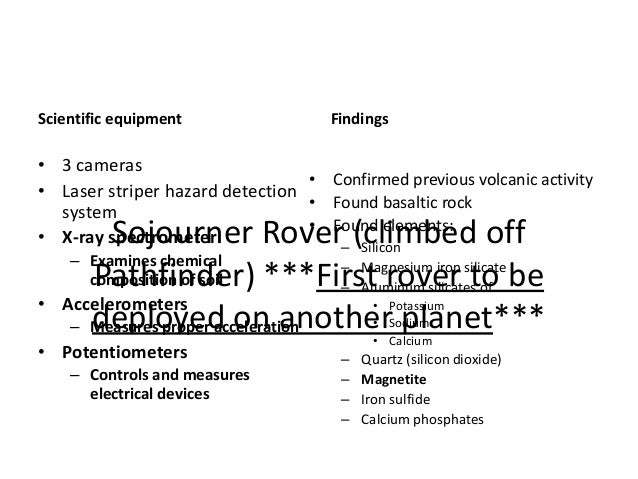 Sojourner Rover (climbed off Pathfinder) ***First rover to be deployed on another planet*** Scientific equipment Findings ...