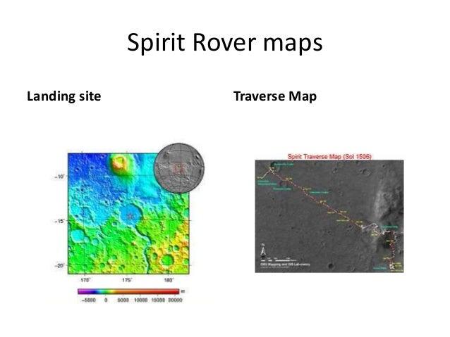 Spirit Rover maps Landing site Traverse Map