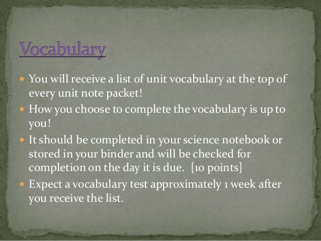  You will receive a list of unit vocabulary at the top of  every unit note packet!  How you choose to complete the vocab...