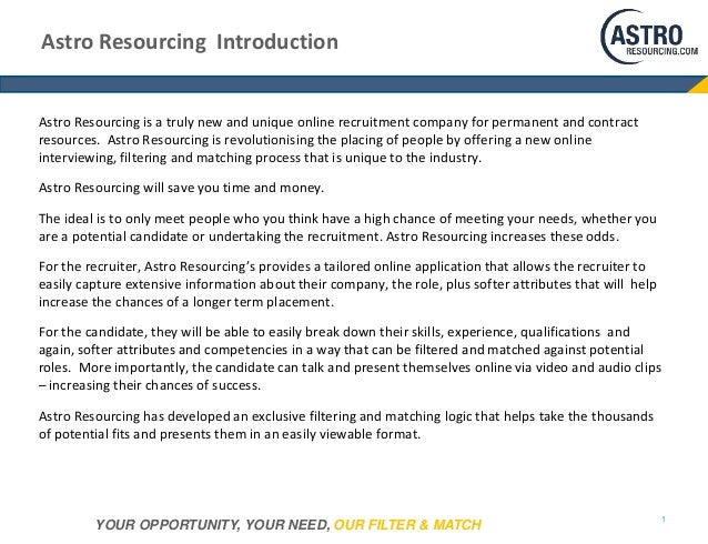Introduction to www.astroresourcing.com Slide 2
