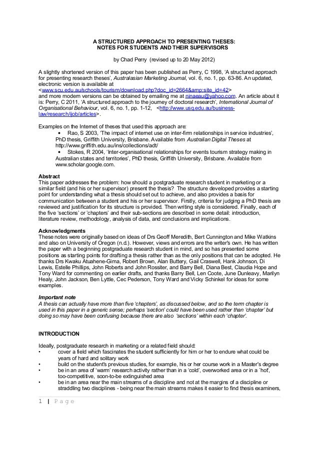 A Structured Approach To Presenting Theses Notes For Students And T…