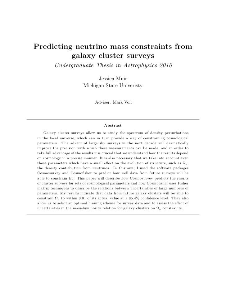 Predicting neutrino mass constraints from           galaxy cluster surveys          Undergraduate Thesis in Astrophysics 2...