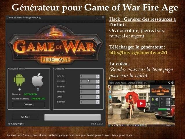 Générateur pour Game of War Fire Age Hack : Générer des ressources à l'infini : Or, nourriture, pierre, bois, minerai et a...