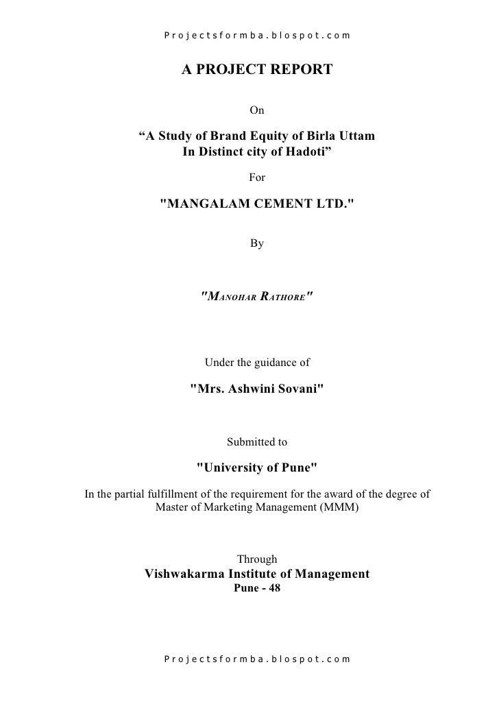 "Projectsformba.blospot.com                     A PROJECT REPORT                                    On           ""A Study o..."