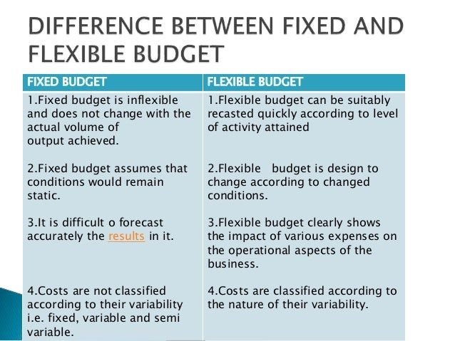 a comparison of the static and fixed budget planning tools Standardization of the process facilitates comparison and the fixed budget, often called a static effort of budgeting and planning.