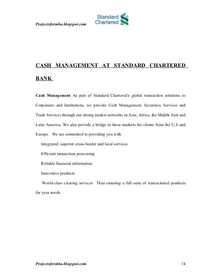 A study of cash management at standard chartered bank
