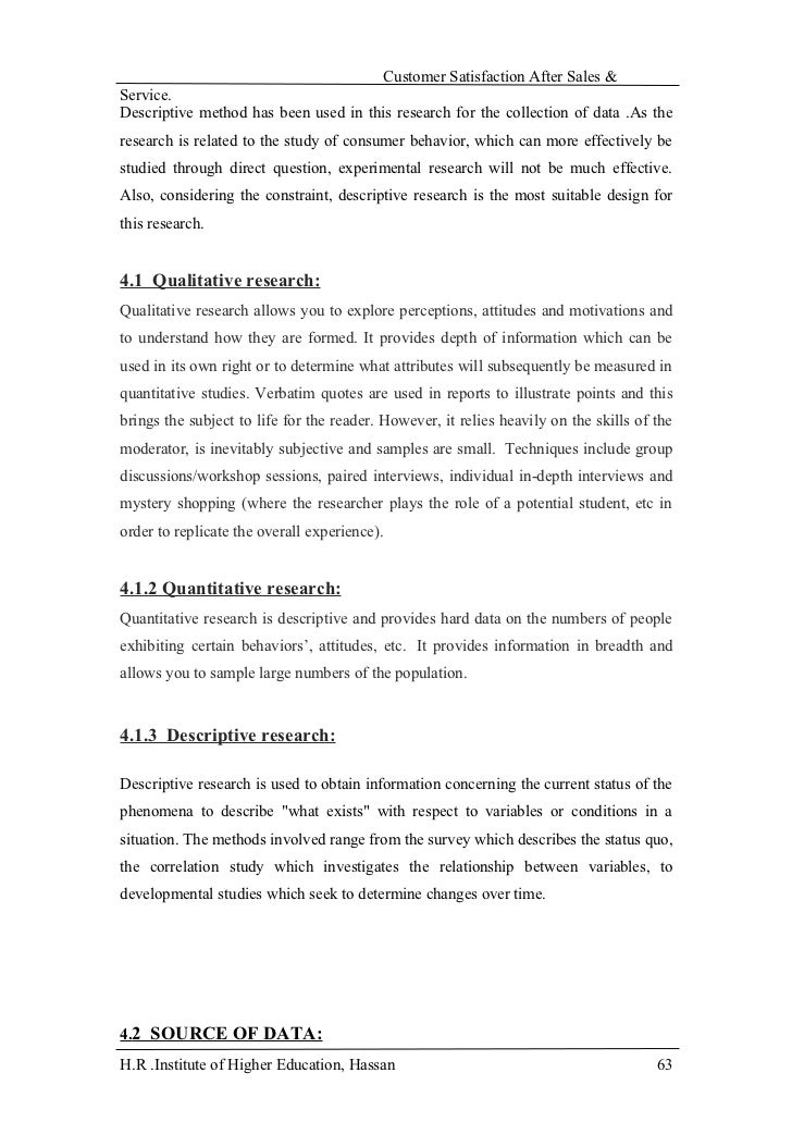 Research paper on customer satisfaction