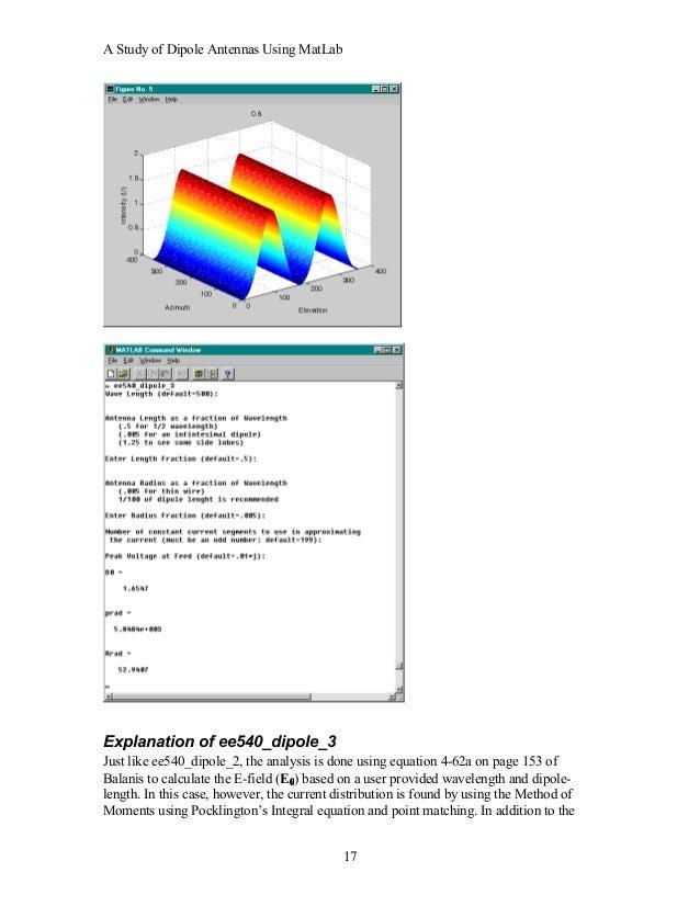 A study of dipole antennas using mat lab