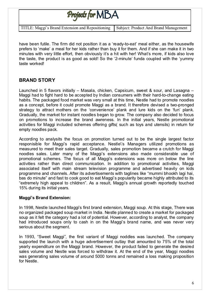maggi brand extension and repositioning A study of maggi brand repositioning and extension - download as word doc (doc / docx), pdf file (pdf), text file (txt) or read online.