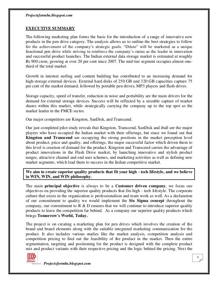 A study of marketing plan of dilato pen drives