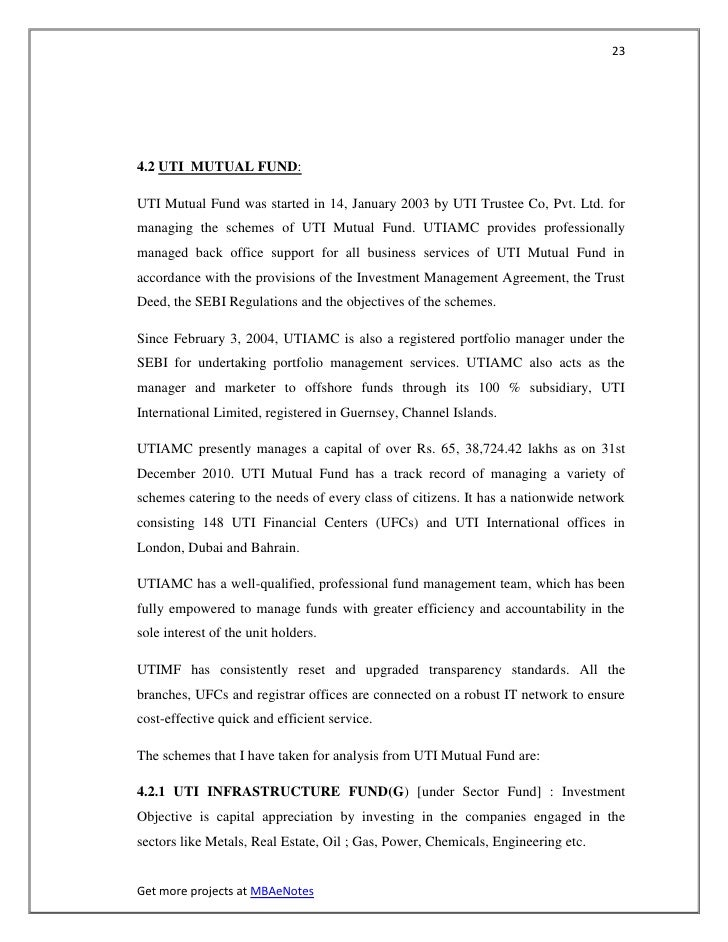 234.2 UTI MUTUAL FUND:UTI Mutual Fund was started in 14, January 2003 by UTI Trustee Co, Pvt. Ltd. formanaging the schemes...